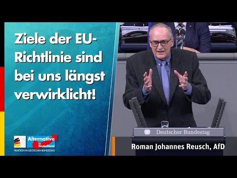 Ziele der EU-Richtlinie sind bei uns längst verwirklicht! - Roman Reusch - AfD-Fraktion im Bundestag
