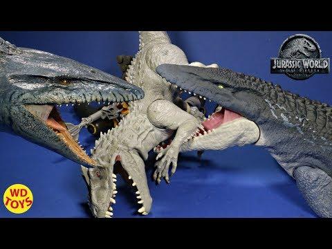 New Jurassic World Real Feel Mosasaurus Fallen Kingdom Unboxing  Mattel Mosasaurus Vs Indominus Rex