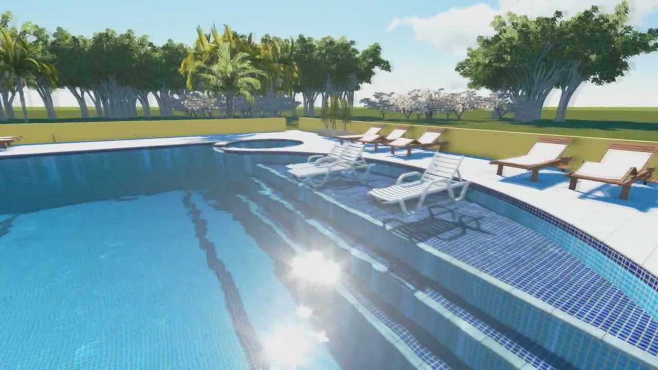 Perspectivas 3d em v deo campestre piscinas youtube for Piscina 3d