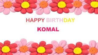 Komal  Birthday song Postcards  - Happy Birthday KOMAL