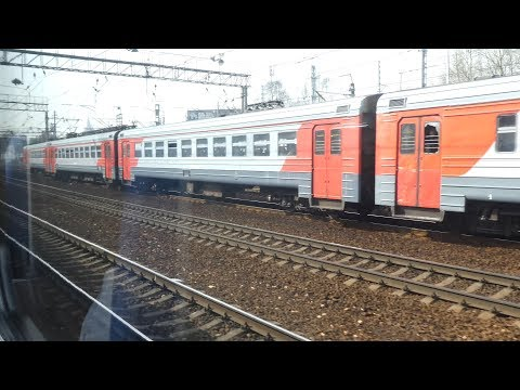 ED4M EMU arrives at Moscow Yaroslavskaya railway station, April, 2018
