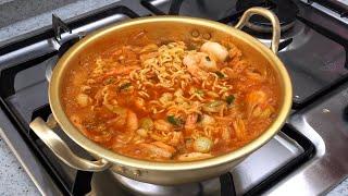 Eng) 쉽고 간단한 요리:: 김치새우라면 만드는법 레…