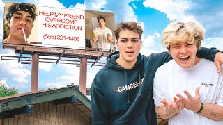 SURPRISING BEST FRIEND WITH EMBARRASSING BILLBOARD!!
