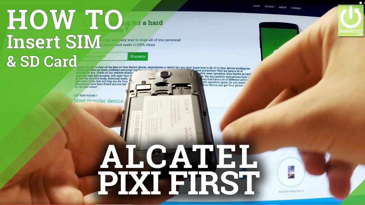 How To Insert Sim  U0026 Sd In Alcatel One Touch Pixi First - Set Up Sim Card