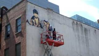 shepard fairey mural goes up on wooster grand