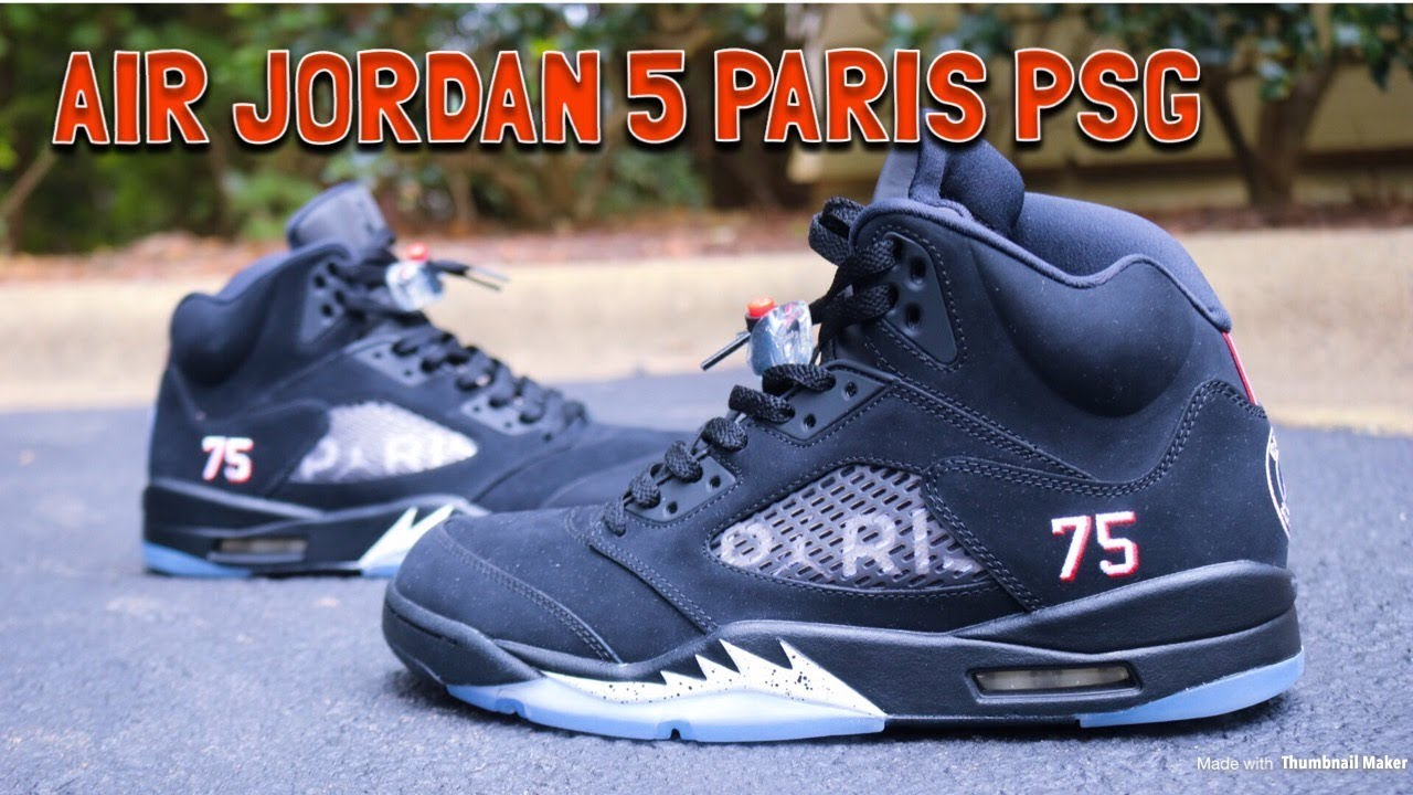 promo code 1deeb 87f05 AIR JORDAN 5 PARIS SAINT GERMAIN PSG REVIEW, BLACK METALLIC COMPARISON & ON  FEET!!