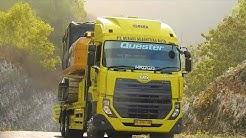 Self Loader Truck Transporting Excavator CAT 320D2 GC Quester UD TRucks CWE 280