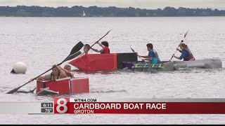 High schoolers race cardboard boats in Groton