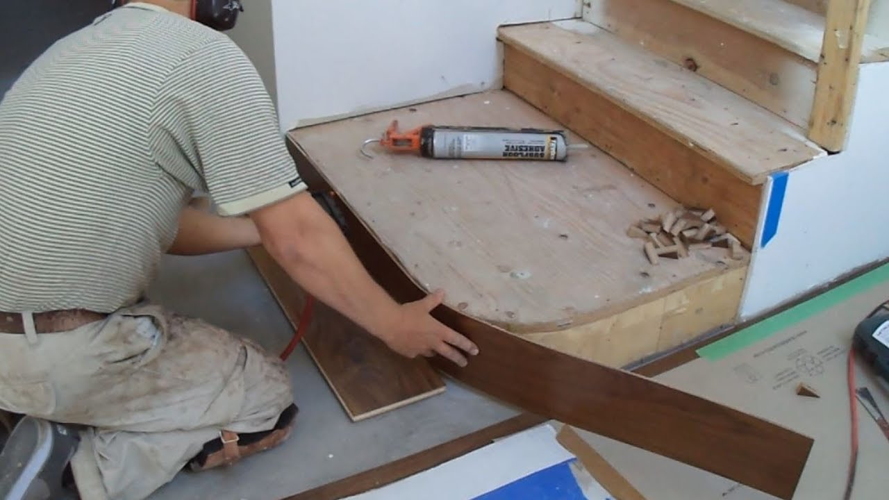 How to Install Hardwood Stairs: Curved Stairs Riser Installation ...