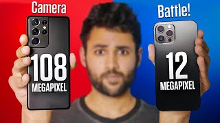 Samsung Galaxy S21 Ultra vs iPhone 12 Pro Max Camera Test Comparison.