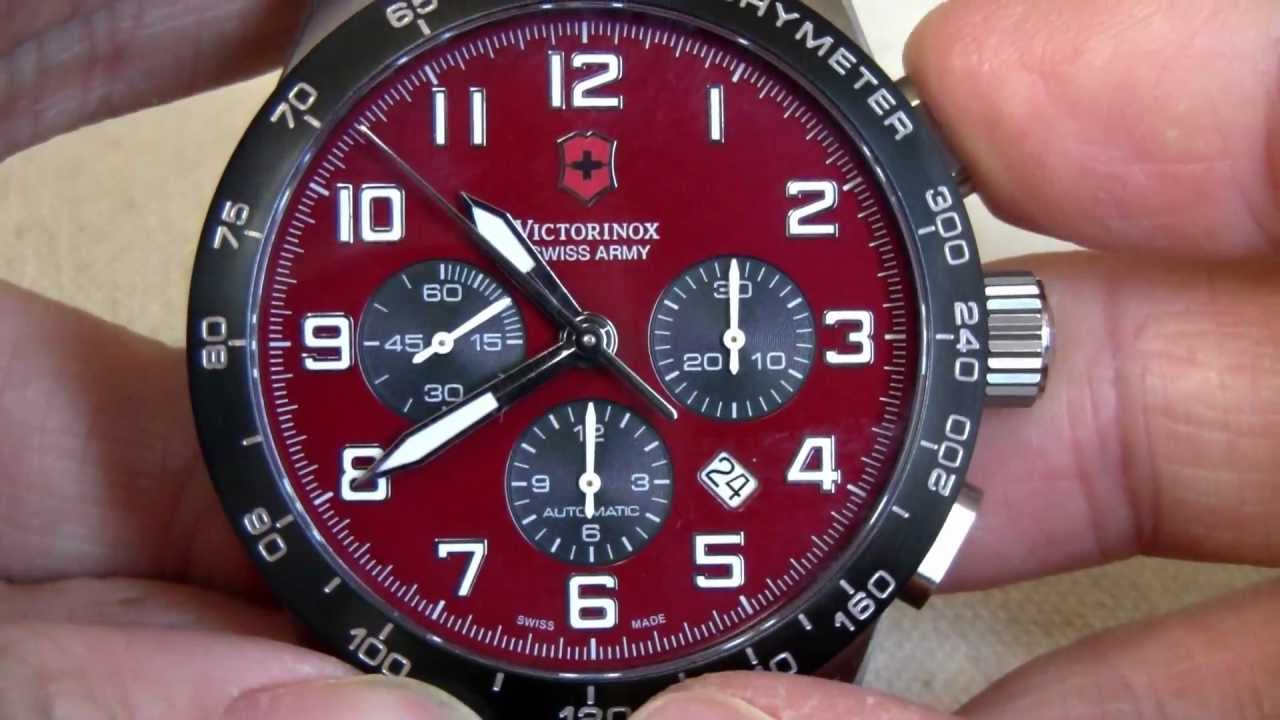 Victorinox Swiss Army Men s Airboss 6 Automatic Chronograph RED Dial ... 2b52aa853a9a