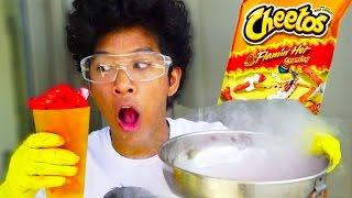 HOT CHEETOS PUFFS VS. LIQUID NITROGEN!!!