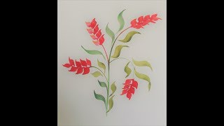 Watercolor Heliconia  Flowers with Special Brush - Angular Brush
