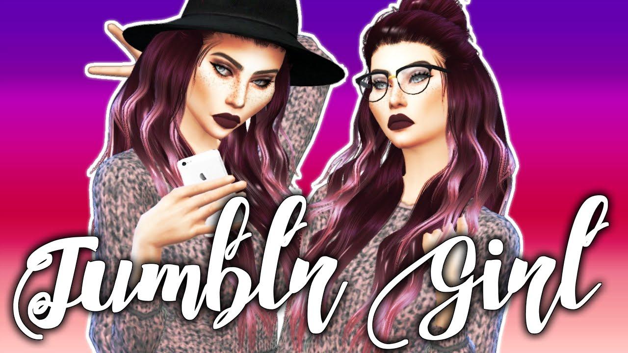 The Sims 4: Create A Sim | Tumblr Girl + FULL CC LIST