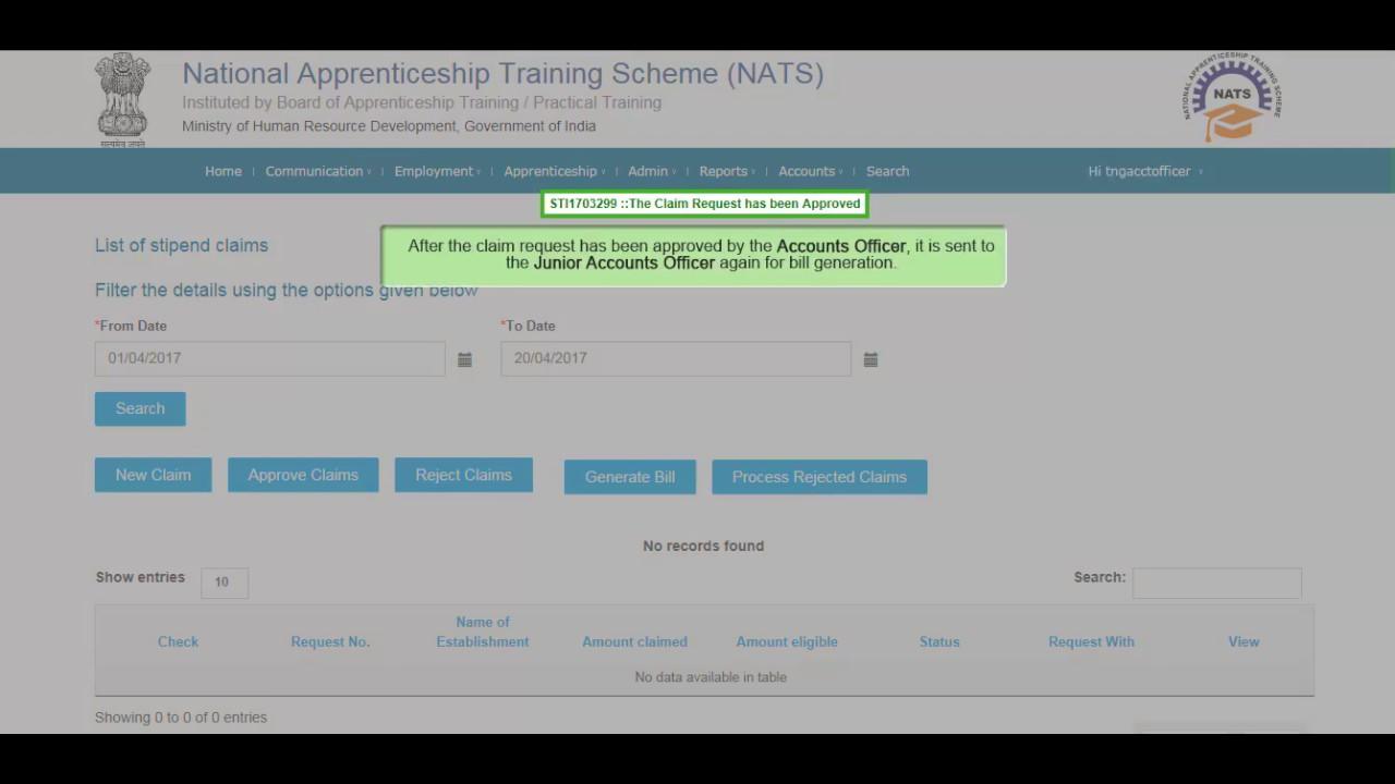 NATS Stipend Reimbursement Video Tutorial Junior Accounts Officer
