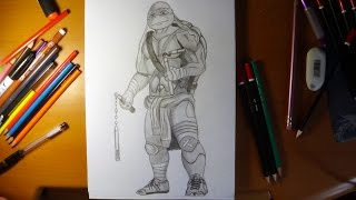 How to draw ninja turtles  Michelangelo from movie 2014