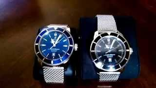 How to spot a fake Breitling watch.(Side by side comparison)(I show you how to tell the differences between a genuine Breitling Super Ocean Heritage and a fake one., 2014-09-30T17:28:12.000Z)