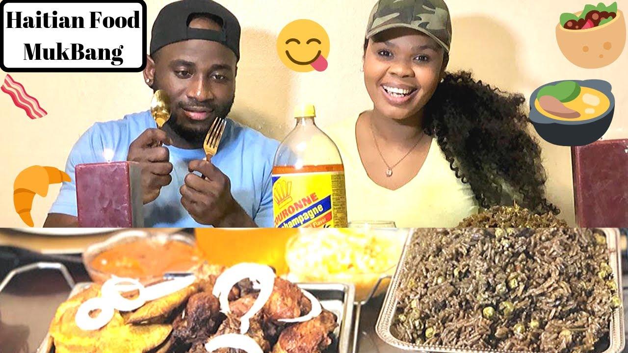 HAITIAN FOOD MUKBANG | black rice, fried chicken, fried ...