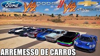 ARREMESSO DE CARROS - FORD VS DODGE VS CHEVROLET - FORZA HORIZON 3 - GAMEPLAY