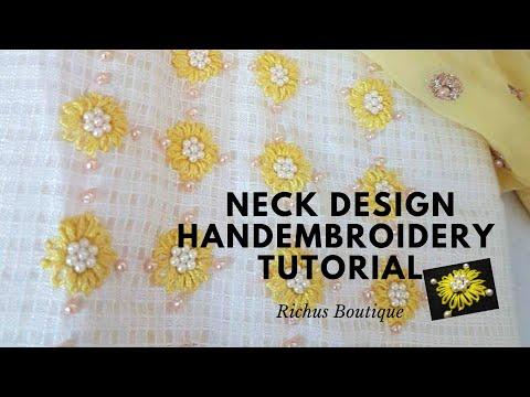 Latest Neck Design Tutorial | Handembroidery | Beadwork |Neckline