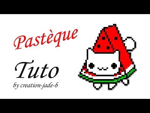 Tuto Pixel Art Pastèque Chat Kawaii H43 X L39