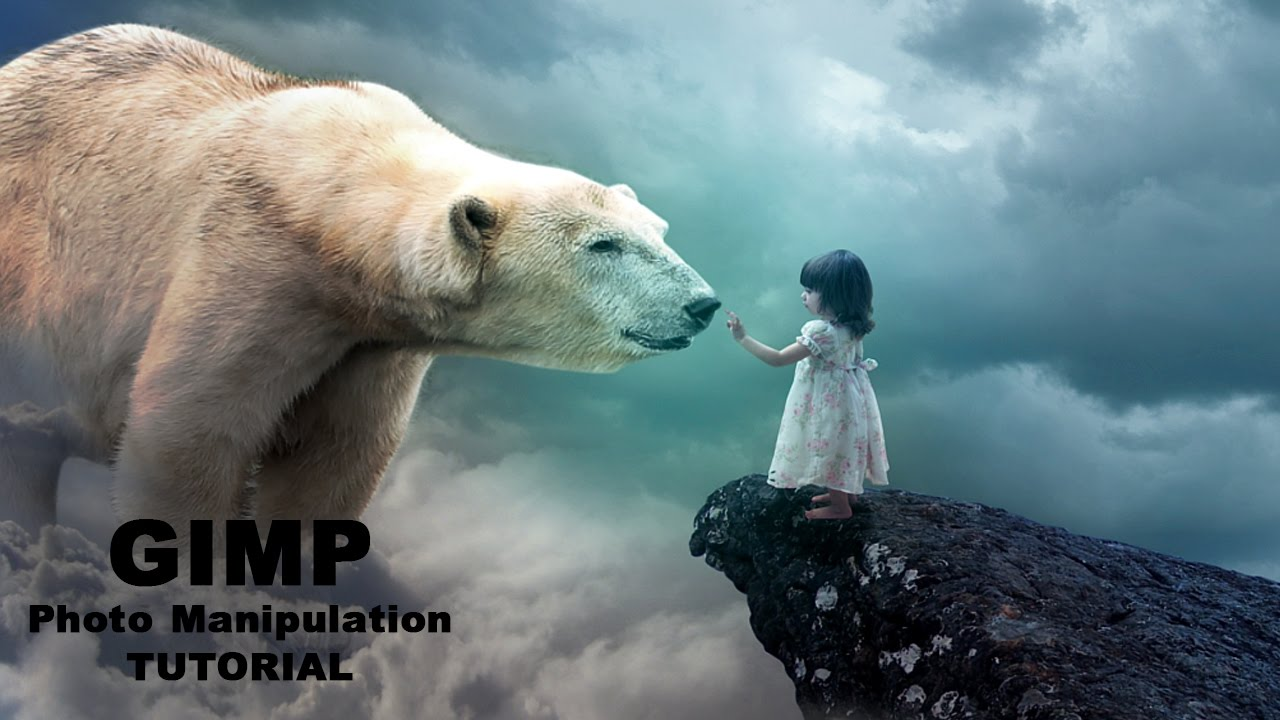 Girl with big Bear Photo Manipulation Tutorial in Gimp