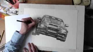 Speed Drawing a Racing Car Audi A4 2014 BTCC Rob Austin Exocet Racing