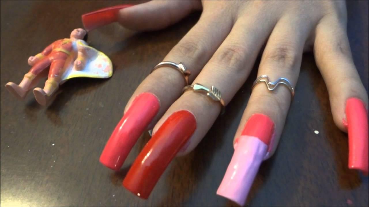 polishing long natural nails