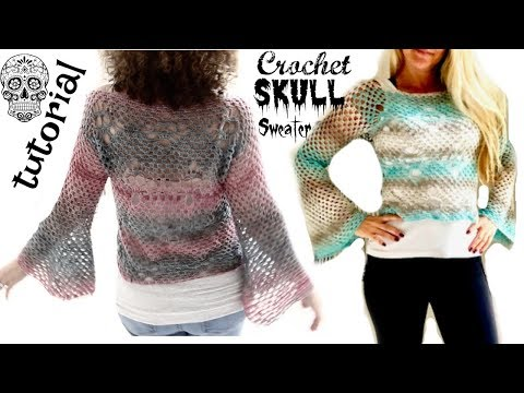 Crochet skull sweater with Bell sleeves Part 1