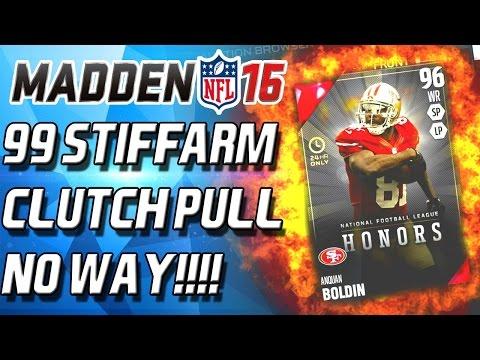 ANQUAN BOLDIN! 99 STIFF ARM!!!!! CLUTCH PULL! - Madden 16 Ultimate Team