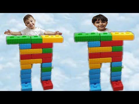 Çınar Efe ve Emir renkli lego bloklarla robot yaptı. Çınar Efe made robot with colorful lego blocks.
