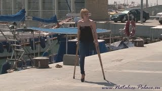 Repeat youtube video Amputee Valery out on crutches