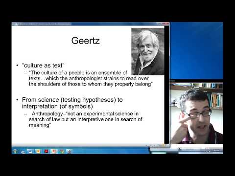 Geertz--models of and for (Interpretive Anthropology)