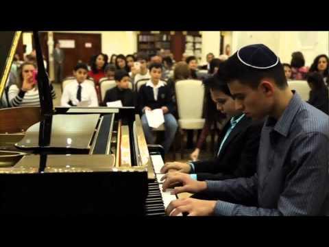 Hava Nagila Ariel Davydov arranger Playing Piano Duet Jonathan & Michael Aronov