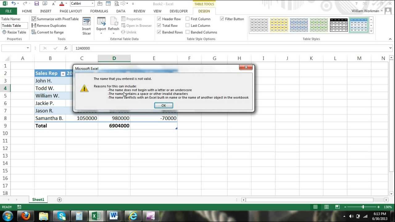 Excel Tutorial: How To Name Excel Tables For Beginners Excel 2016 Tutorial  Excel 2013 Tutorial