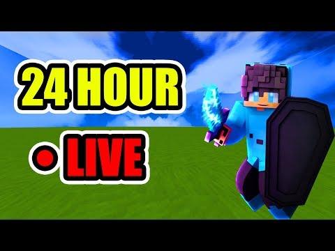 24 HOUR CHALLENGE ON MINECRAFT LIVE! (w/ FaceCam)