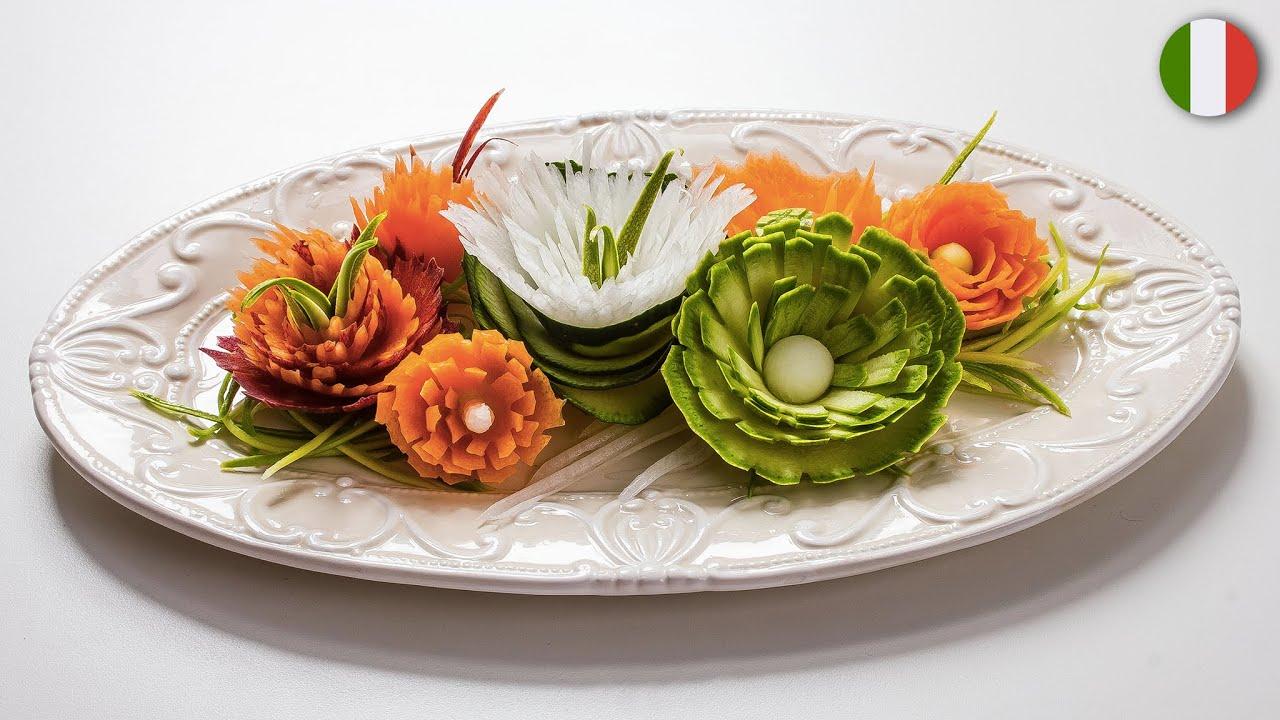 Composizioni Facili Di Frutta come fare dei fiori di verdure temperate - tutorial visualfood