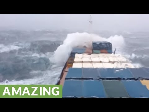 Container ship battles surreal storm near Bermuda