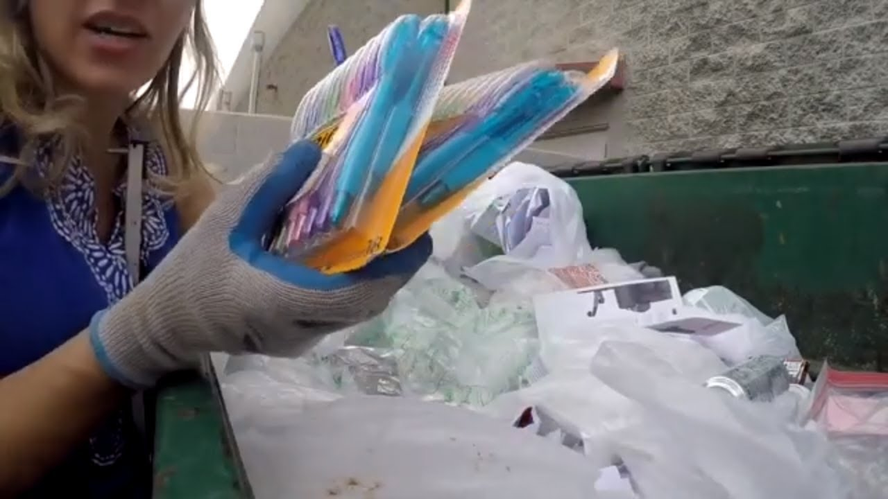 Dumpster Diving- Staples threw away a bunch of new school supplies
