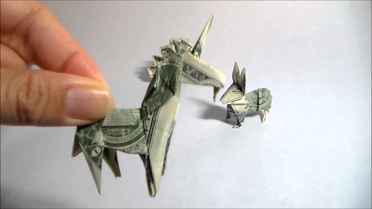 dollar origami unicorn dollar origami peacock dollar