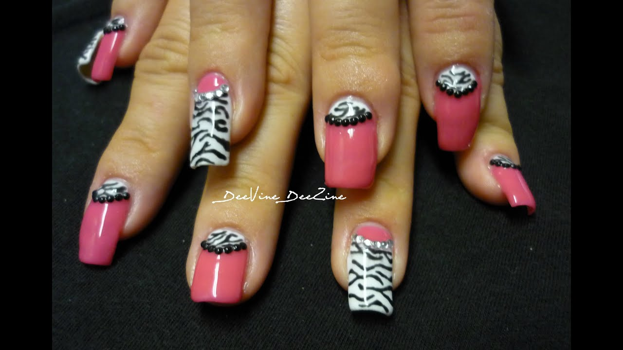 Hot Pink Zebra Nails With Sensationail Youtube