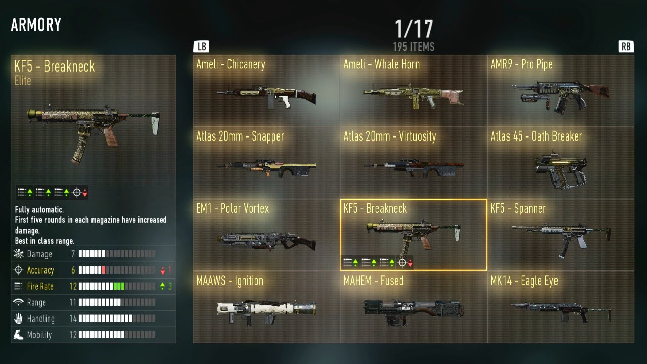 Advanced warfare all my elite weapons my armory youtube