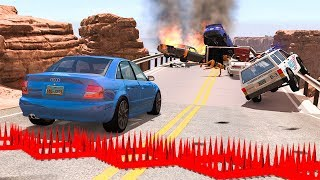 Collapsing Bridge Pileup Car Crashes #12 - BeamNG DRIVE | SmashChan