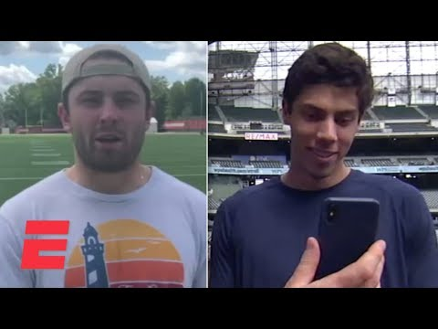 Baker Mayfield Asks Christian Yelich About The Body Issue | MLB On ESPN