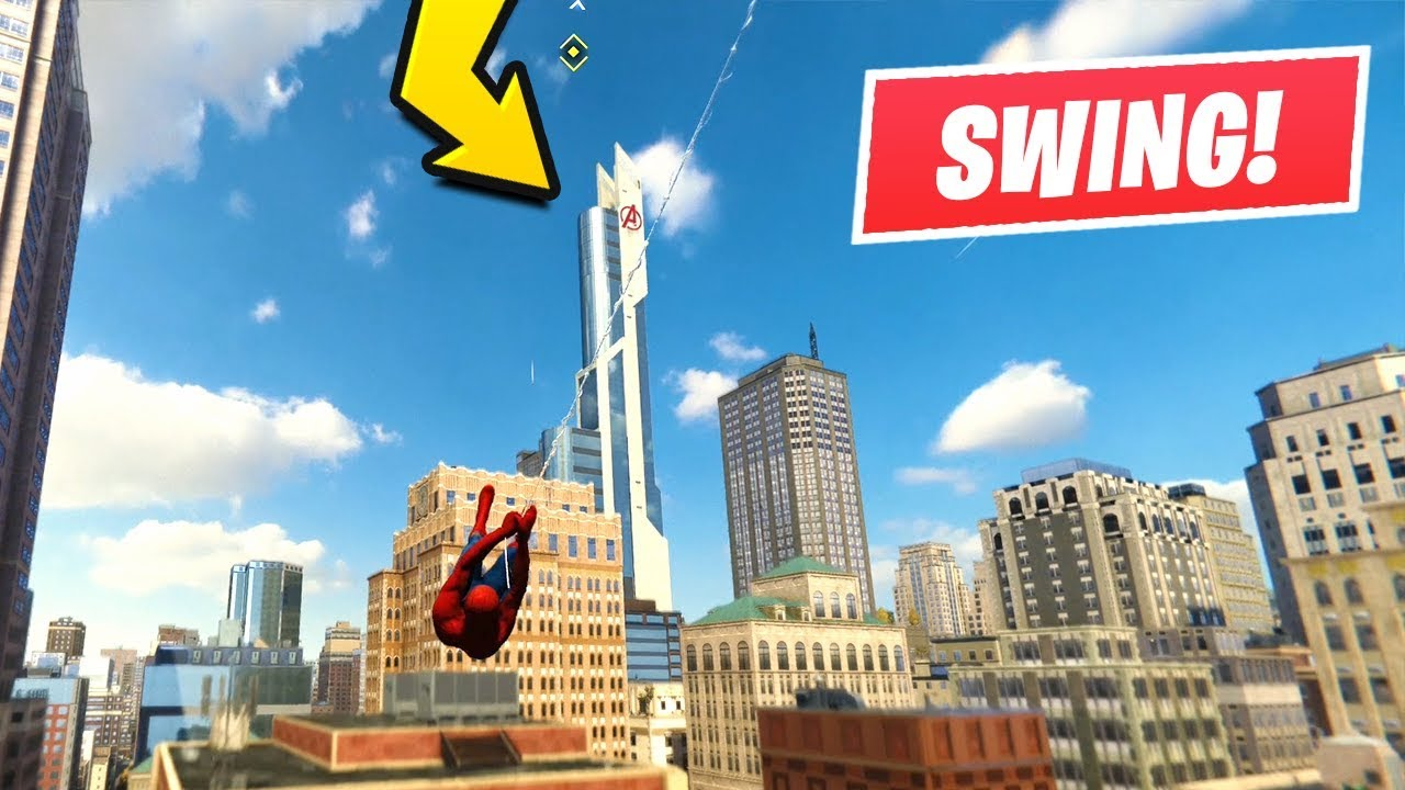 marvels spider man jumping off the avengers tower spider man
