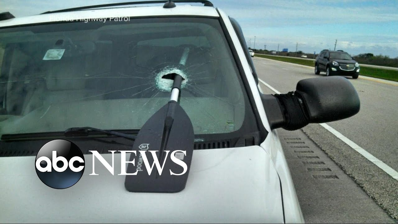 Oar Falls Off Motorhome and Crashes Through Driver's Windshield, Narrowly Missing Her