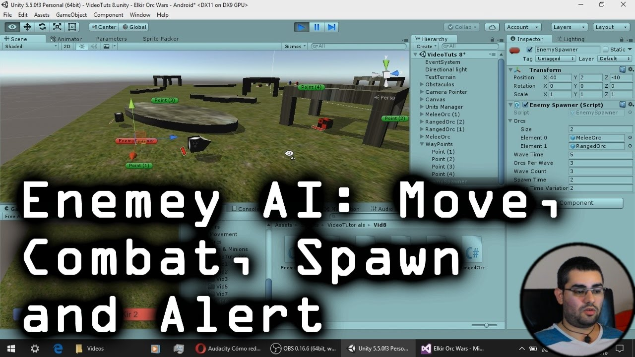 Unity Tutorial: Enemy AI (Combat, Movement, Spawn, Alert) - Simple RTS  [Creating Games! ~ A-9]
