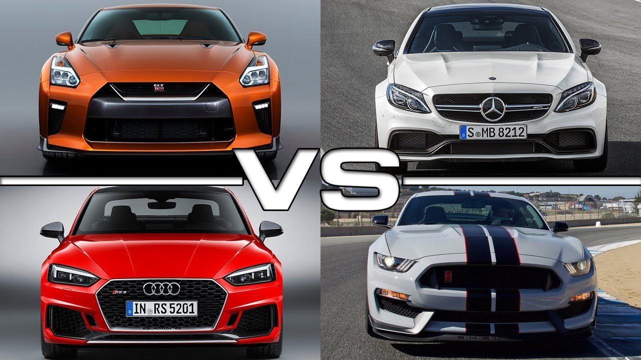 Nissan gt r vs mercedes amg c63 s coupe vs audi rs5 vs ford mustang shelby gt350r