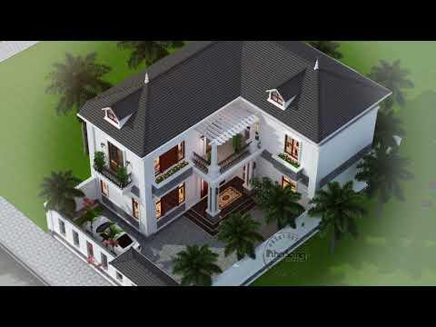 Biệt thự chữ L mái thái 2 tầng đẹp xuất sắc tại Bắc Ninh BT19123