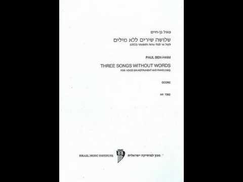Paul Ben-Haim -- Three Songs Without Words, II. Ballad -- Thomas Patrick Wisniewski, alto saxophone